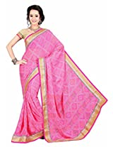 Bahubali Womens Pure Bandhni traditional print along with heavy fancy lace(85603_Pink Colour Saree)