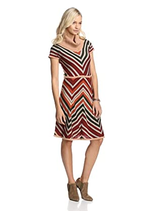 Jessica Simpson Women's Chevron Stripe Sweater Dress (Tomato Multi)