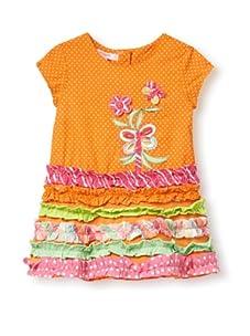 Beetlejuice Girl's 2T-6X Butterfly Kisses Orange Polka Dot Ruffle Dress (Orange)
