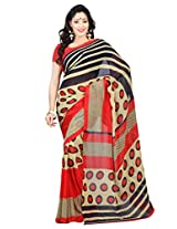 Admyrin Red and Beige Georgette Saree with Red Blouse Piece
