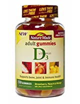 Nature Made Adult Gummies Vitamin D3, Value Size, 150 Count,Strawberry,Peach&Mango