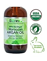 Virgin Argan Oil for Hair, Skin, & Nails 100% Moroccan. Cold Pressed, Paraben Free & Cruelty Free. Certified Organic Care Products for Frizz, Split Ends, Hair Loss, Wrinkles, Acne, Eczema, Cuticles & More!