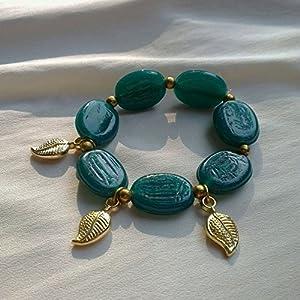 No Strings Attached Eden Green Stone & Gold Leaf Bracelet