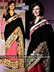 Bollywood Replica Divyanka Tripathi Velvet and Georgette Saree In Black and Peach Colour/L340