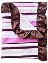 Caden Lane Classic Collection Stripe Ruffle Blanket, Pink