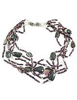 925-Silver Garnet,Tourmaline Princess Gemstone Necklace For Women 11614