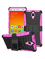 DEFENDER Hard Armor Hybrid Rubber Bumper Flip Stand Rugged Back Case Cover For XIAOMI MI4 - PINK