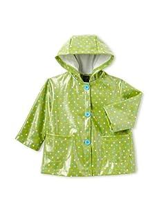 Mack & Co Girl's Hooded Raincoat (green dot)