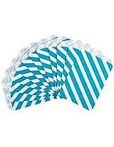 Party Partners Design 12 Count Paper Favor Bags, Aqua Stripe