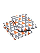 Bacati Triangles 2 Piece Crib Fitted Sheet, Orange/Grey