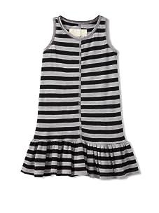 Peas & Queues Kids Piper Striped Tank Dress (Grey/Black Stripe)