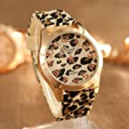 Gift-HK Sexy Wild Leopard Geneva Silicone Band Quartz Analog Wrist Watches Women Girls (Beige Leopar...