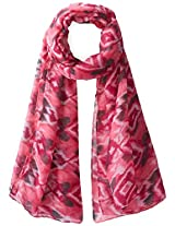 D&Y Women's Blurred Ikat Printed Oblong Scarf