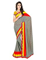 Sonal Trendz White & Black Color Printed Saree. Weightless Fabric Printed Saree with Lace & Blouse. Festive Wear.
