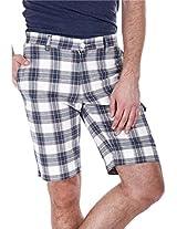 Zobello Men's Mens Yarndye Golf Shorts (31033K_White Blue Tartan Plaid_37)