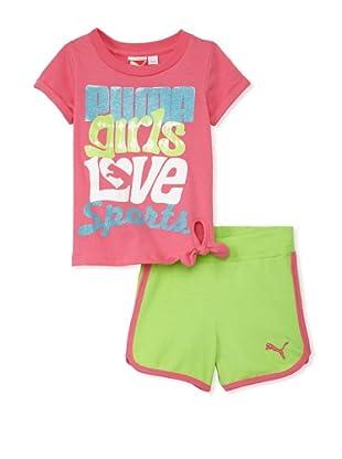 PUMA Girl's 2-6x Jersey Tee & Short Set (neon pink)