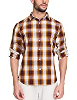 Zovi Cotton Slim Fit Casual White and Brown Checkered Shirt with Printed Placket(11895600901_Small)