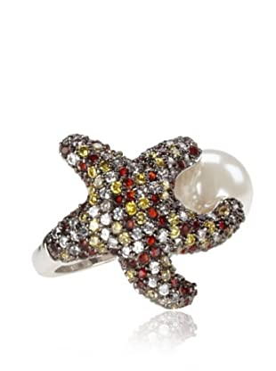 nOir Multi-Colored Star & Pearl Ring