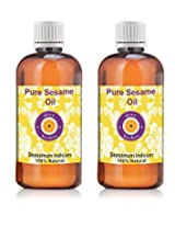 Pure Sesame Oil - Pack of Two (100ml + 100ml) Sesamum Indicum 100% Natural Cold pressed