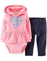 Carter's Baby Girls' 3 Piece Cardigan Set (Baby) - Pink Heart - 3 Months