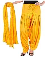 100% Cotton Blazing Yellow Semi Patiala Bottom And Dupatta With Side Pockets