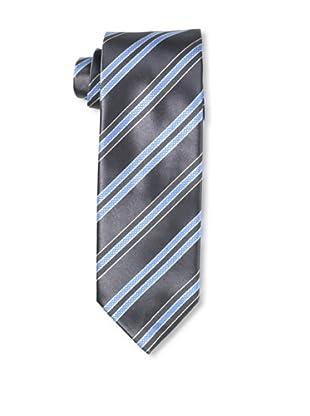 Massimo Bizzocchi Men's Rib Striped Tie, Blue/Grey
