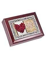 Meant To Be Red Roses Rosewood Finish with Silver Inlay Jewelry Music Box - Plays Tune Wonderful Wor