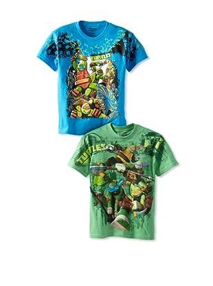 Freeze Boy's Teenage Mutant Ninja Turtles 2-Pack T-Shirt Bundle (Turquoise/Grass Green)