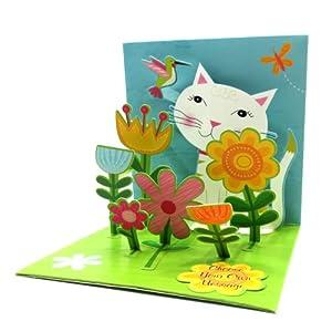 Treasures ポップアップカード CAT & FLOWERS/花と白ネコと小鳥 PS1050 ペーパームーン/Paper Moon 多目的カード/バースデーカード/お誕生/Birthday Card