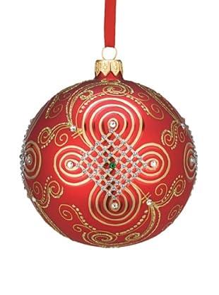 Reed & Barton European Glass Blown Jeweled Ball Ornament