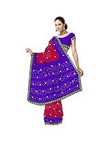 Embroidered Chiffon Purple Saree - Dli3Srj179