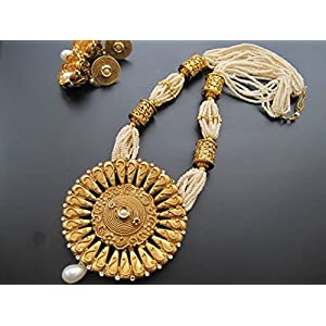 Dreamz Jewels Pearl Necklace With Large Pendant In Gold & Earrings