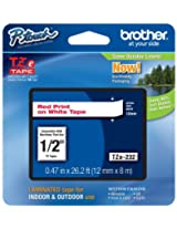 Brother Laminated Tape Red on White, 12mm (TZe232)