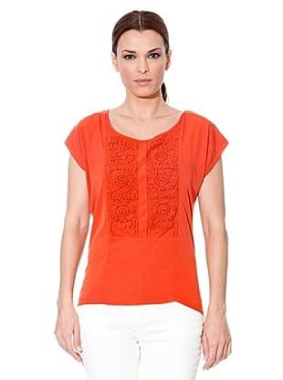 Cortefiel Camiseta Bordada (Naranja)