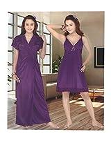 Indiatrendzs Women's Silk Satin Nighty Light Purple 2pc Set Sexy Sleepwear -Freesize
