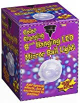 "Forum Novelties Color Changing 8"" Hanging LED Mirror Ball Disco Party Light"