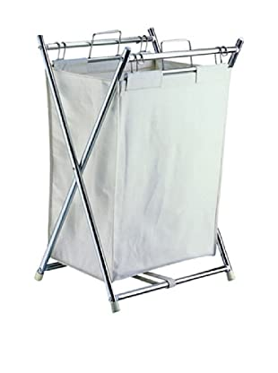 Neu Home Folding Hamper With Canvas Pull-Out Bag, Chrome
