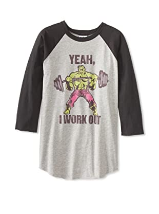 Junk Food Men's Work Out Raglan 3/4 Sleeve T-Shirt (Steel)
