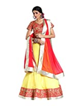 DesiButik's Wedding Wear Elegant Yellow Net Lehenga