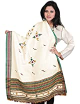 Exotic India Shawl from Kutch with Embroidered Bootis and Mirrors - Color PapyrusColor Free Size