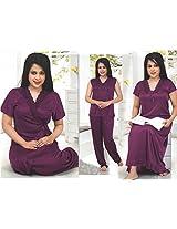 Indiatrendzs Women's Sexy Hot Nighty Pink 4pc Set Bedroom Sleepwear Freesize
