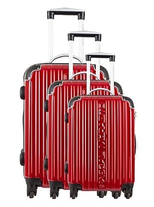 Pascal Morabito Set 3 Trolley 4 Ruedas Golda (Rojo)