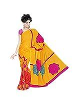 Jaanvi Fashion Art Silk Yellow Printed Saree