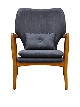 International Design USA Madison Linen Lounge Chair, Charcoal