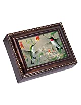 Hummingbirds Dark Burl Wood Finish with Gold Trim Jewelry Music Box - Plays Tune Pachelbels Canon in