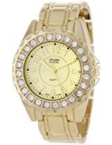 """Golden Classic Women's 2284_gold """"Time's Up"""" Rhinestone Accented Gold-Tone Watch"""