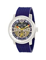 Gv2 By Gevril Powerball Gold-Tone Dial Blue Polyurethane Band Big Date Men'S Watch - Ger4042R3