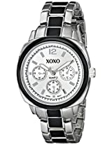 XOXO Women's XO112 Silver Dial Silver-tone and Black Enamel Bracelet Watch