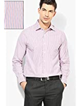 Red Striped Slim Fit Formal Shirt Peter England
