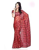 Shariyar Red Jacquard Printed Saree PRG368